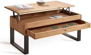 Mesa centro elevable madera vintage